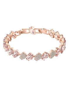 A fabulously crafted ladies bracelet which consists of various sparkling Swarovski crystals set around a rose gold plated pear shaped link design. Size: one size. Bb Shop, Rose Gold Plates, Types Of Metal, Dillards, Swarovski Crystals, Sparkle, Diamond, Ladies Bracelet, Bracelets