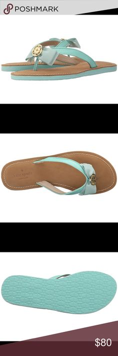 Kate Spade Ida Mint leather bow flip flop sandals 100% authentic! New with box, made in China. Color: Mint Green, size: 6, material: leather. kate spade Shoes Sandals