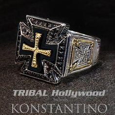 Konstantino Royal Maltese Cross Sterling Silver Mens Ring