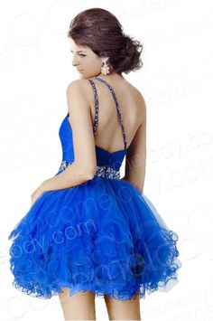 Delicate A-Line One Shoulder Natural Short-Mini Tulle Blue Sleeveless Zipper Sweet 16 Dress with Draped and Crystals COZM14048 #cocomelody