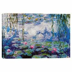 Don't you just want to sit right here and watch those reflected clouds all day? :: Print of Claude Monet's Nympheas on canvas.