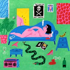 Stephanie Unger's instinctive illustrations use bright colours and simple shapes. (See more)