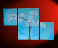 """Original Acrylic Triptych Painting. """"Elegant Aspen Tree""""     56"""" by 36"""" over three stretched canvases.  (two 16x20 and one 24x36 canvas)  This painting's colors are a beautiful sky blue, white, very dark brown, and different shades of light pinks/white for the blossoms.  The blossoms stand out and give the painting texture and dimension.  The asymmetrical placement of the canvases give this painting interesting personality and unique status.    If you want a custom version with your own…"""