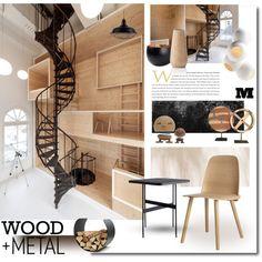 Wood+Metal by snowbell on Polyvore featuring interior, interiors, interior design, home, home decor, interior decorating, Muuto, Hoptimist, Maison Margiela and Cappellini