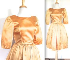 Vintage 1950s Dress // 50s 60s Golden Satin by TrueValueVintage