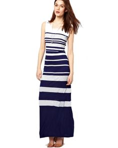 Navy and Grey Maxi Dress - http://www.maxidresseshq.com.au/shop/navy-and-grey-maxi-dress/