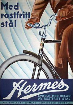 1930's Swedish bike poster for Hermes