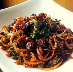 Pesto Pasta w/ Roasted Grapes+ Caramelized Leeks
