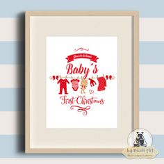Instant Download / Baby First Christmas / Christmas Wall Art / Printable Art / Nursery Print / Baby Room Decor / Typography Poster por LythiumArt