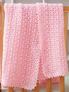 Crochet - Baby & Children Patterns - Blankets The name aptly describes the bright, pink color of this easy baby blanket. Crochet with worsted-weight yarn using U. Size: x Skill Level: Easy Pink Baby Blanket, Crochet Baby Blanket Free Pattern, Baby Afghan Crochet, Crochet Square Patterns, Manta Crochet, Easy Crochet, Baby Blankets, Baby Afghan Patterns, Crochet Waffle Stitch