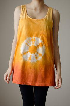 Unisex tank, oversized tank, tie dye top, ombre orange, circle