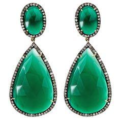 Green Onyx Drop Earrings. The Green Onyx Drop Earrings from J/Hadley channel the timeless sophistication of a bygone era. $2,800.00
