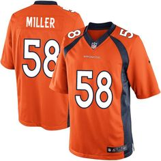 Nike Limited Von Miller Orange Youth Jersey - Denver Broncos #58 NFL Home