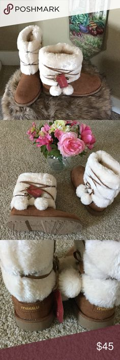⚡️Last day at this price ⚡️🌪Fuzzy Wuzzy Boots New Makalu Boots with with leather wrap and fuzzy balls, super cute, inside shaft is fur lined, new with tags but no box. Price Firm Makalu Shoes Winter & Rain Boots