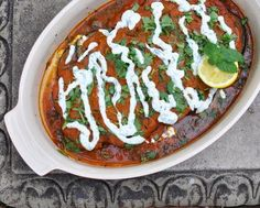 Afghan Eggplant & Tomato Casserole (Borani Banjan) ~ an explosion of tastes and textures and temperatures ~ Low-Carb & Weight Watchers PointsPlus 3 ~ Recipe @ Afghan Food Recipes, Indian Food Recipes, New Recipes, Cooking Recipes, Ethnic Recipes, Healthy Low Carb Recipes, Vegetarian Recipes, Vegetable Dishes, Vegetable Recipes