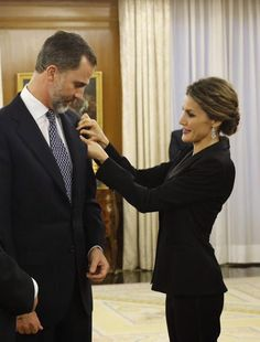 King Felipe VI and Queen Letizia of Spain received an audience a representation of the attendees the 'I International Symposium on Cancers of the Skin' at Zarzuela Palace on 29.01.2015 in Madrid, Spain.
