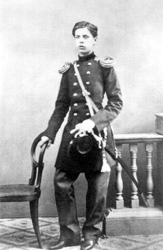 Young Mussorgsky as a cadet in the Preobrazhensky Regiment of the Imperial Guard. c. 1865