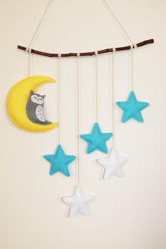 Cute stars and moon mobile. Stars moon and owl by TinyHappyBee Felt Mobile, Cute Stars, Stars And Moon, Wool Felt, Baby Room, Owl, Presents, Nursery, Shapes