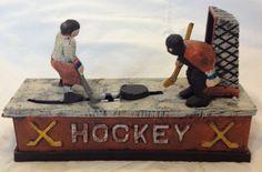 Mechanical Ice Hockey Die-Cast Iron Coin Bank