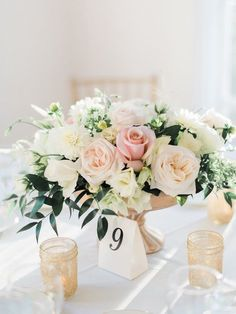 Blush and Gold Romantic Wedding Centerpiece // low and lush, roses, greenery