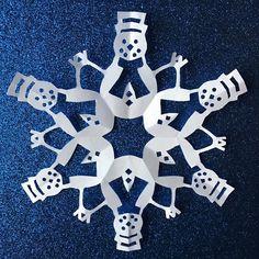 Snowmen Paper Snowflake Pattern PDF Digital by PaperSnowflakeArt Snowflakes Art, Snowflake Cutouts, Christmas Snowflakes, Christmas Paper, Christmas Ornaments, Winter Christmas, Paper Snowflake Designs, Paper Snowflake Template, Snowflake Craft