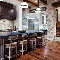More kitchen remodel - chimney stone facing ideas - Spaces Stone Veneer Kitchen Island Design, Pictures, Remodel, Decor and Ideas - page 78