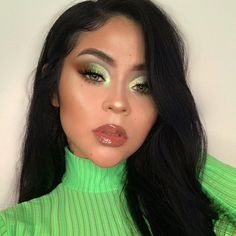 looking fly af in neon green! Get next-level glossy shine that feels lightweight and comfortable on the lips. Shop the sweetly scented Cherry Slime lime iridescent lip gloss at Lime Crime. Makeup Eye Looks, Makeup For Green Eyes, Eyeshadow Looks, Eyeshadow Makeup, Eyeshadow Palette, Makeup Palette, Green Eyeshadow Look, White Eye Makeup, Summer Eyeshadow