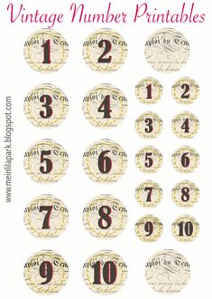 Vintage printables - FREE printable vintage number tags and stickers Free Printable Planner Stickers, Printable Numbers, Printable Letters, Printable Tags, Printable Paper, Free Printables, Printable Vintage, Decoupage, Vintage Numbers