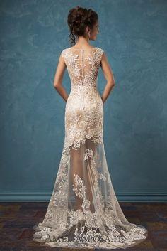 Amelia Sposa V-neck Satin Two-piece Wedding Dresses Olivia4 / http://www.deerpearlflowers.com/amelia-sposa-2017-wedding-dresses/2/