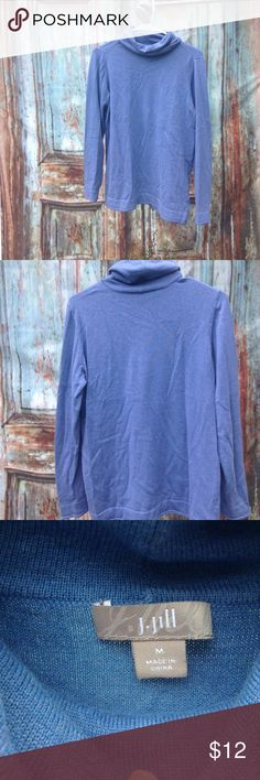 Blue Turtleneck Shirt Brand: J. jIll   ~Size: M   ~Color: Blue  77% Cotton.  23% Polyester J. Jill Sweaters Cowl & Turtlenecks