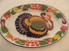 "Vintage Enamel Ware Painted Turkey Platter Thanksgiving Tray 17-1/2"" x 13-1/4"""