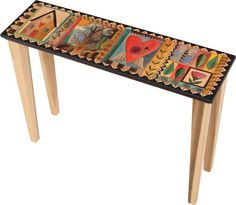"""Sticks creates this artistic one-of-a-kind accent sofa table, constructed of hard wood. Hand drawn whimsical designs are burnt in, and then painted. * Size: 30""""L. x 12""""W. x 30""""H. Anything you can imag"""