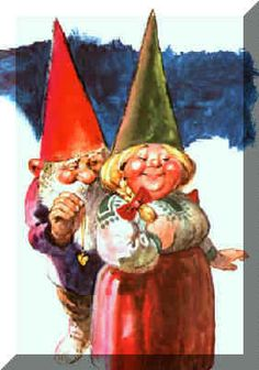 Ordinary Gnomes: Males indulge in pipe-smoking and think of marriage about age 200 years. Gnome women deck themselves out with blossoms or berry-bearing twigs for the celebrations Woodland Creatures, Magical Creatures, Fantasy Creatures, Illustrations, Book Illustration, David The Gnome, Baumgarten, Humanoid Creatures, Kobold