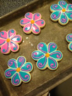 Flower cookies-don't like he colors, but like the idea.