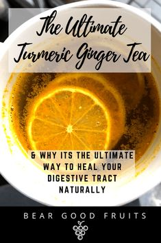 Ultimate Turmeric Ginger Tea & Why its the Ultimate Way to Heal Your Digestive Tract Naturally! Detoxifying Recipe & Benefits of Turmeric & Ginger in article! Lemon Benefits, Coconut Health Benefits, Tea Benefits, Benefits Of Turmeric, Tumeric And Ginger, Turmeric Tea, Tumeric Tea Recipe, Turmeric Lemonade, Tomato Nutrition