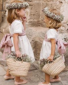 These flower girls are adorable! They look so pretty in those white dresses with pink ribbons Tell us - how many flower girls will be at your wedding? Wedding Day Weddings Planner Plan Planning Your Big Day Wedding With Kids, Perfect Wedding, Dream Wedding, Wedding Day, Wedding Tips, Wedding Bells, Flower Girl Photos, Flower Girl Dresses, Boho Flower Girl