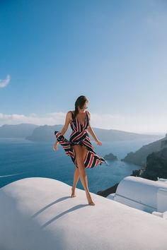 Santorini and a flowing wrap dress
