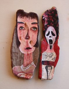 'People 4'. Acrylic and collage on cork oak driftwood from Northern Spain. Ginny Rose 2015