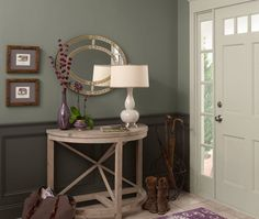 Sophisticated Teal Panelled Entryway   Last chance to vote for your favourite Benjamin Moore painted room for a chance to win an iPad! #contest