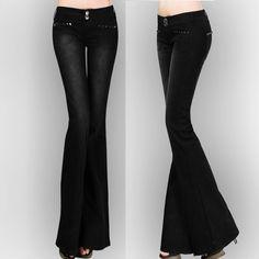 Spring Fall Designer Womens Fashion Rope Stretch Big Bell Bottom ...