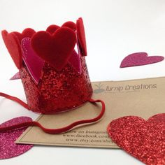 You will be the Queen of Everyones Heart in this Red Glitter Crown Headband!    A red glitter crown headband sewn with an embroidery machine with pink