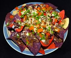 Red, White & Blue Nachos #Red #White #Blue #Nachos #CornTortillas #SouthAmerican #Beef