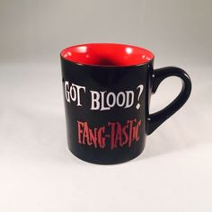 """Got Blood? Fang-Tastic"" Dracula Coffee Mug Halloween Cup Kate Ward Thacker 2010"