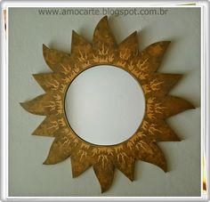 Espelho - sol com detalhe em mdf madeira http://www.amocarte.blogspot.com.br/