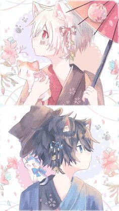 Neko Soraru x Mafumafu Anime Neko, Kawaii Anime Girl, Manga Anime, Anime Art, Cute Anime Guys, Anime Love, Neko Boy, Anime People, Cute Chibi