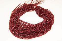 1strandfr-004  natural ruby faceted rondel sized 3.5mm by 3yes