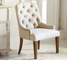 Design a perfect home office with stylish and functional office furniture. Find desk chairs and home office chairs online and at your local Pottery Barn. Tufted Chair, Upholstered Chairs, Chair Cushions, Home Office Chairs, Home Office Furniture, Furniture Sale, Kitchen Furniture, Office Decor, Cafe Chairs
