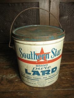 Old Vintage 'Southern Star' Lard Tin Pail - Louisville, KY Advertising