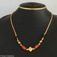 South Indian Mangalsutra by ZivarCreations on Etsy Gold Mangalsutra Designs, Gold Earrings Designs, Gold Jewellery Design, Necklace Designs, Gold Jewelry, India Jewelry, Beaded Jewelry, Gold Designs, Diamond Jewellery
