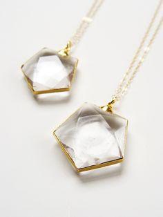Hexagon Quartz Gold Necklace by Friedasophie - www.friedasophie.etsy.com